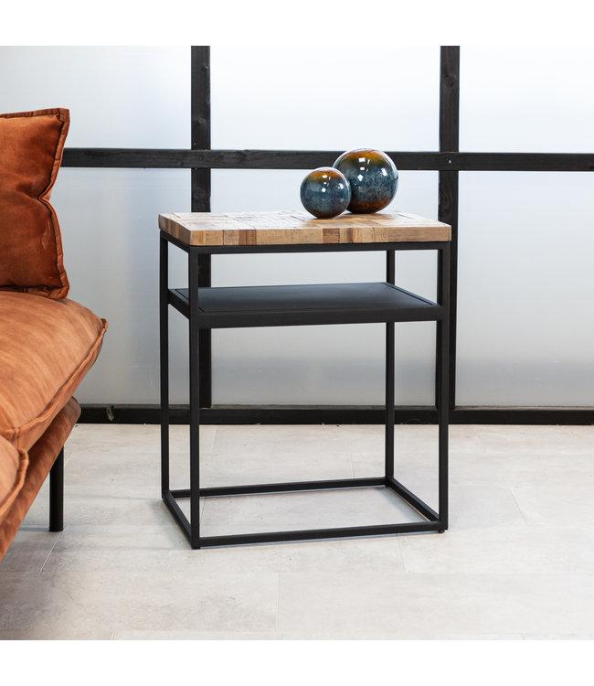Dimehouse Table De Chevet Industrielle Bois Teck Ruby