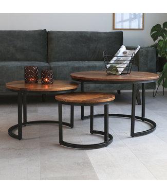 Table Basse Set De 3  Bois Massif Industriel - Cedric