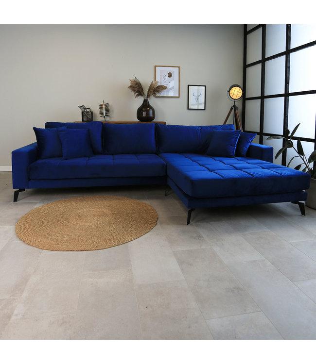 Dimehouse Canapé D'Angle 3 Places Industriel Velours Bleu Brooks - Droite