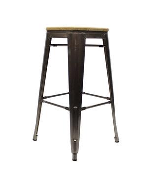 Tabouret de bar Industriel Blade métal avec du bois