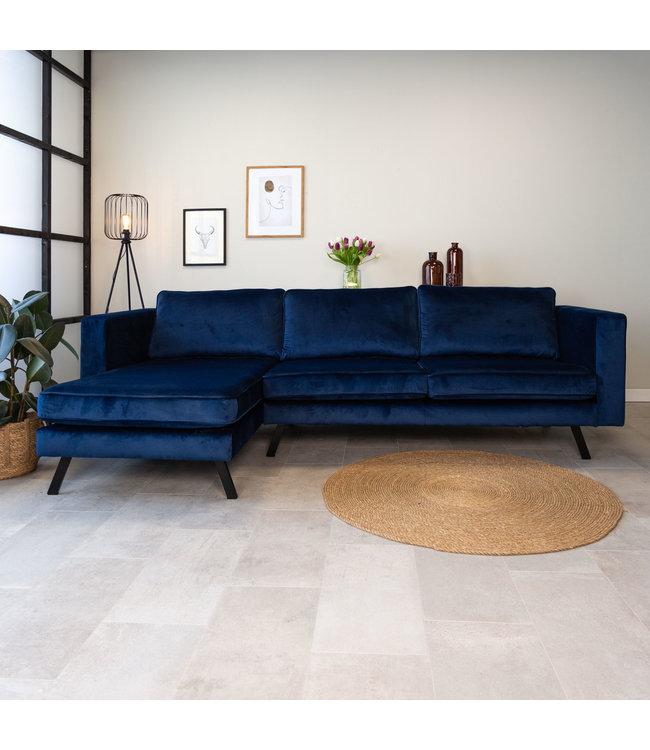 Dimehouse Canapé d'angle gauche industriel 3 places velours Gino bleu