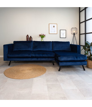Dimehouse 3-zits industriële hoekbank velvet Gino blauw rechts