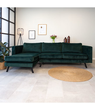 Dimehouse Canapé d'angle gauche industriel 3 places en velours Gino vert