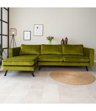 Dimehouse Canapé d'angle gauche industriel 3 places velours Gino vert olive