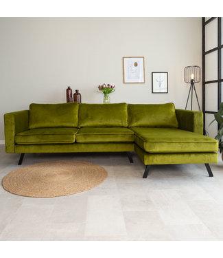 Dimehouse Canapé d'angle droit industriel 3 places velours Gino vert olive