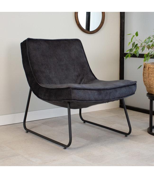 Dimehouse Industriële fauteuil Antraciet Lowen velvet
