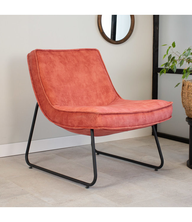 Dimehouse Industriële fauteuil roze Lowen velvet