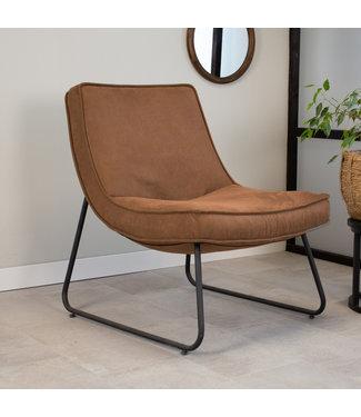 Dimehouse Industriële fauteuil cognac Lowen eco leer