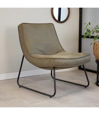 Dimehouse Industriële fauteuil groen Lowen eco leer