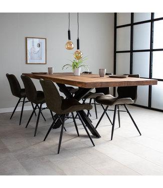 Dimehouse Table À Manger Industrielle Bois 240x100 cm Pieds-Araigné York