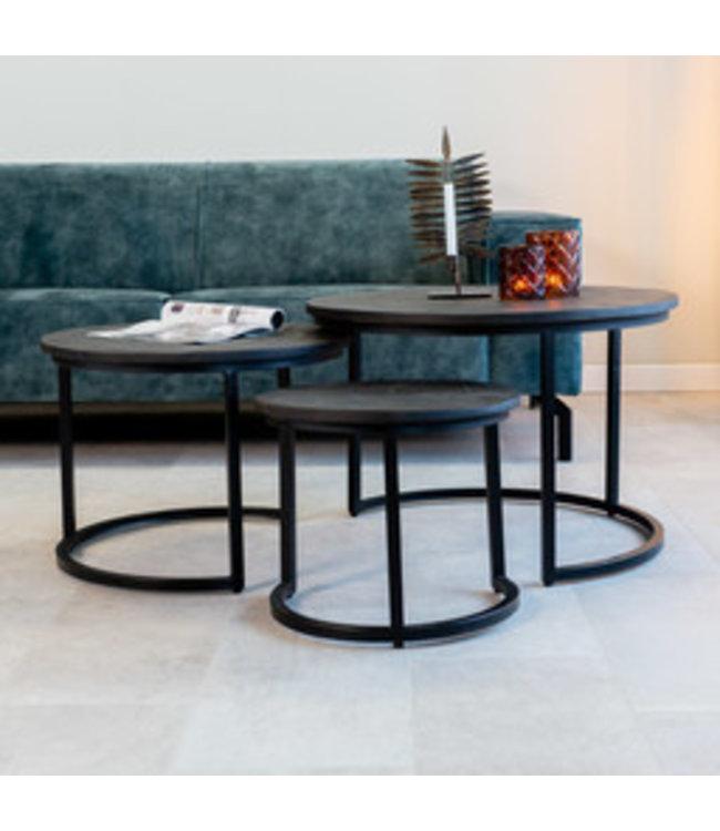 Industriële salontafel set van 3 Caleb zwart