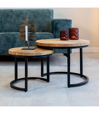 Table Basse Industrielle Ø55 / 42 cm - Bois Massif 3cm Calla