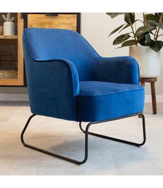 Dimehouse Industriële fauteuil velvet Kristie blauw