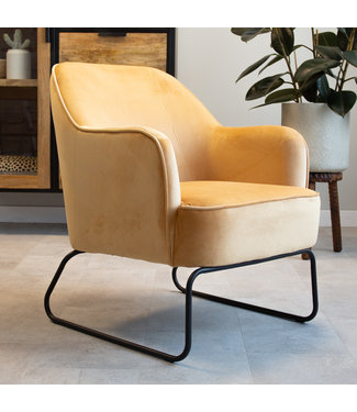 Dimehouse Industriële fauteuil velvet Kristie geel
