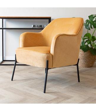 Dimehouse Industriële fauteuil velvet Laura geel