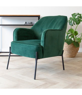 Dimehouse Industriële fauteuil velvet Laura groen