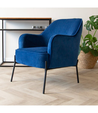Dimehouse Industriële fauteuil velvet Laura blauw