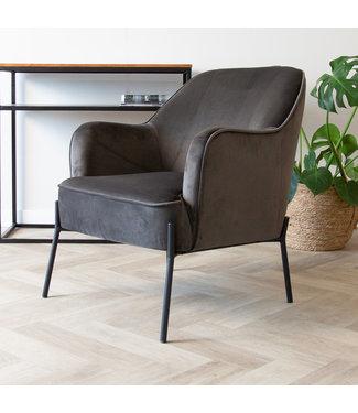 Dimehouse Industriële fauteuil velvet Laura antraciet