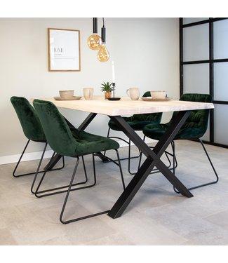 Dimehouse Table À Manger Industrielle Blanc 200x95 cm Pieds-X Devin