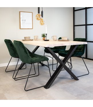 Dimehouse Table À Manger Industrielle Blanc 220x100 cm Pieds-X Devin