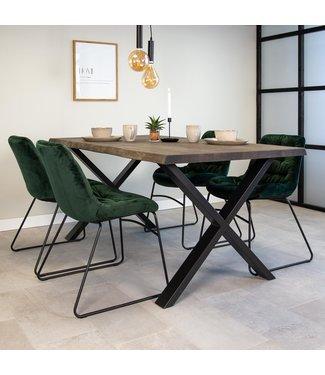 Dimehouse Table À Manger Industrielle Gris 220x100 cm Pieds-X Devin
