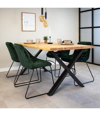 Dimehouse Table À Manger Industrielle 220x100 cm Pieds-X Devin