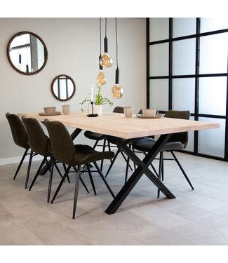 Dimehouse Table À Manger Industrielle Blanc 240x100 cm Pieds-X Devin
