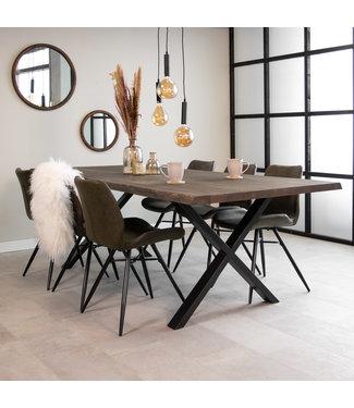 Dimehouse Table À Manger Industrielle Gris 240x100 cm Pieds-X Devin