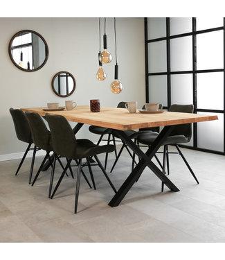 Dimehouse Table À Manger Industrielle 280x100 cm Pieds-X Devin