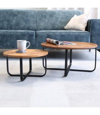 Dimehouse Table Basse Industrielle Ø65/45 - Bois Massif Set De 2 Clara