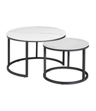 Table Basse Industrielle Marbre Blanc Trevor