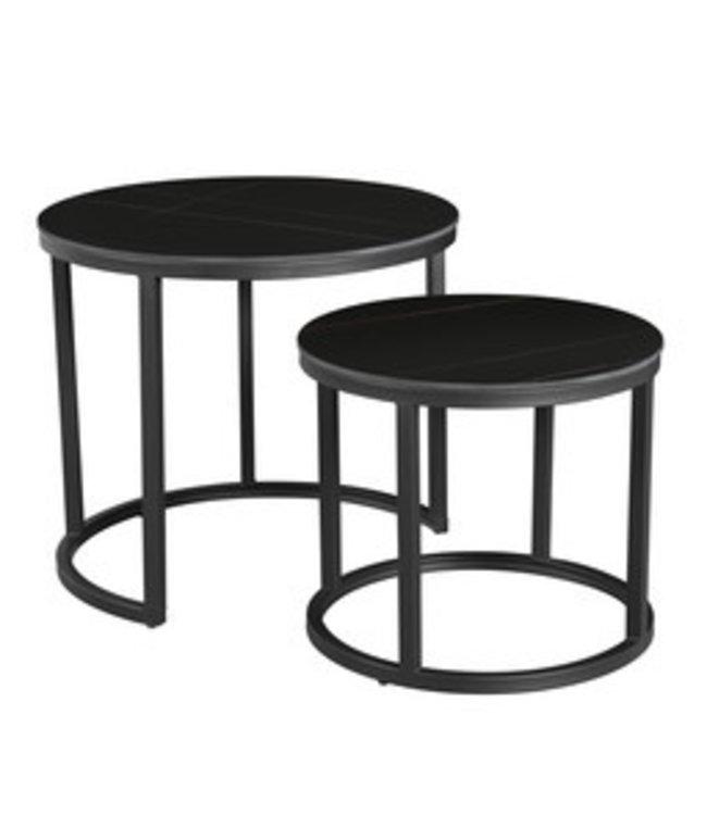 Table Basse Industrielle Marbre Noir Paige