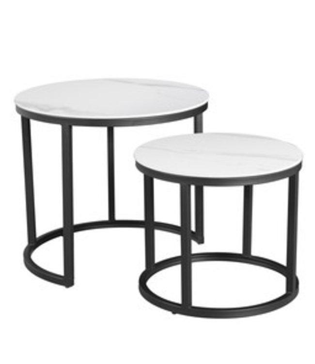 Table Basse Industrielle Marbre Blanc Paige