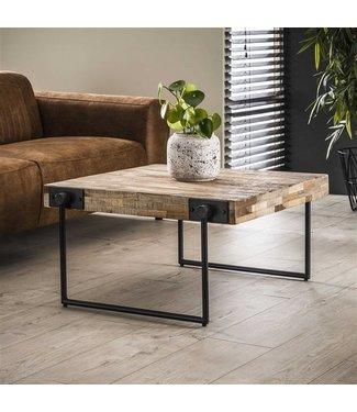 Table Basse Industrielle Carré 80X80 cm Bois Teck Sven