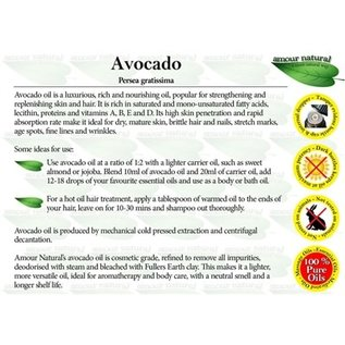 Amour Natural Amour Natural Essential Oils Avocado 100ml Not Organic