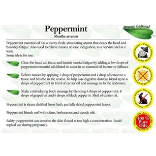 Amour Natural Amour Natural Essential Oils Peppermint 10ml Not Organic