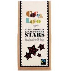 Cocoa Loco Organic Dark Chocolate and Raspberry Stars 100g