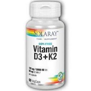 Solaray Vitamin D3 & K2 soy-free 50ug (60 capsules)