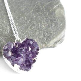 Sterlina Milano Heart shaped amethyst necklace
