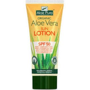 Aloe Pura Organic Aloe Vera Sun Lotion spf50 with free aloe vera gel