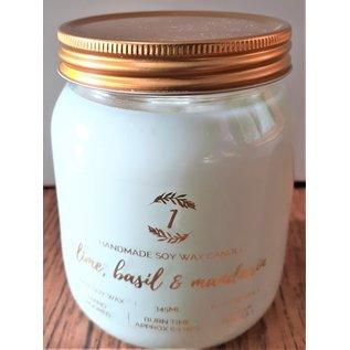 Izzy loops Vegan Soy Wax Jar Candle - Lime, Basil @ Mandarin 345ml