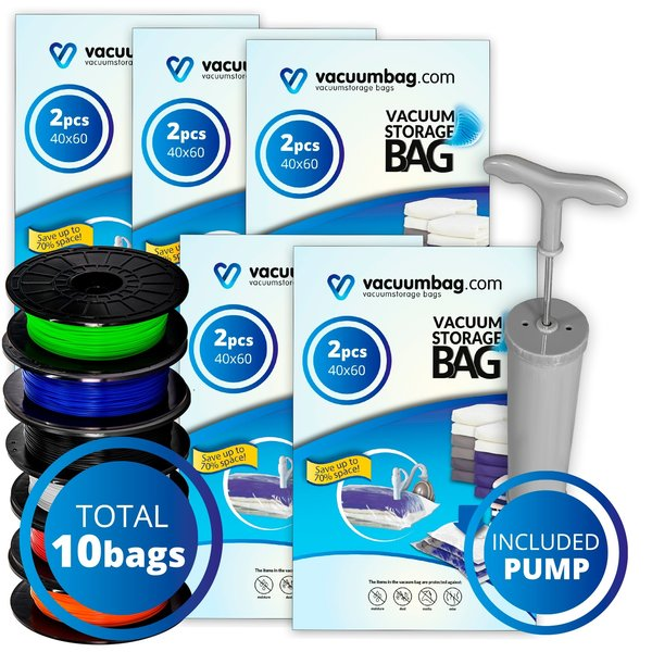 Vacuumbag.com Vacuumzakken voor Filament Pakket [Set 10 Zakken + Pomp]