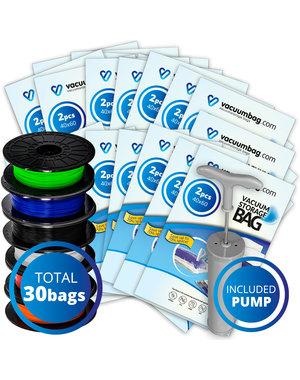 Vacuumbag.com Vacuumzakken voor Filament Pakket XL [Set 30 Zakken+Pomp]