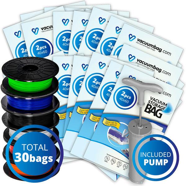 Vacuumbag.com Vacuumzakken voor Filament Pakket XL [Set 30 Zakken + Pomp]