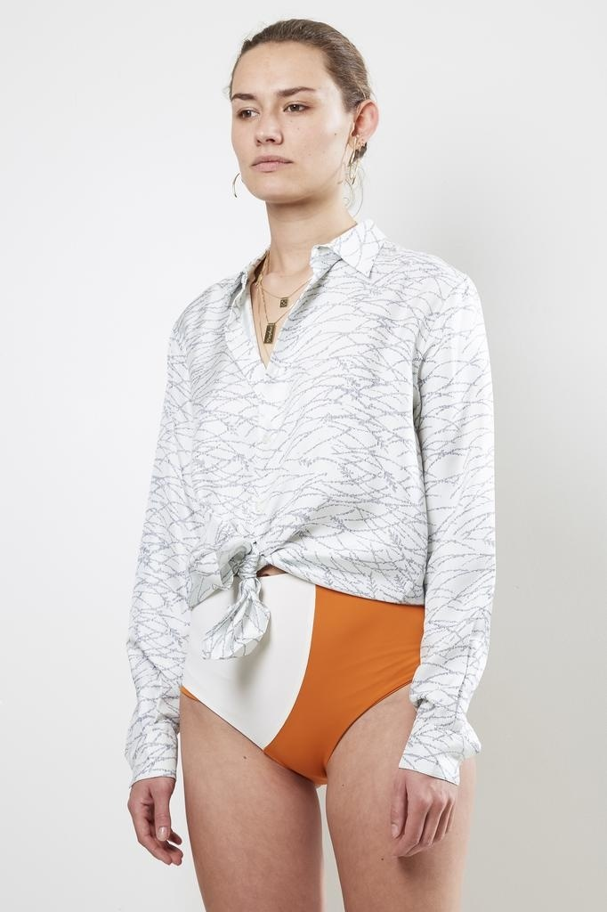 bananatime - printed silk collar shirt eye wonder