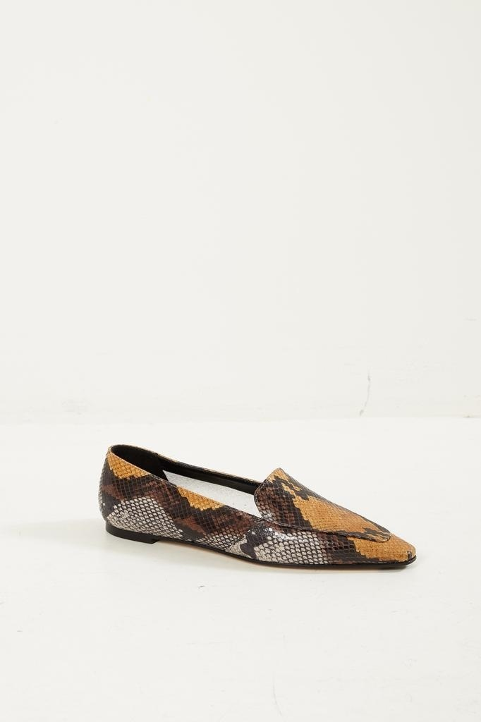 Aeyde Aurora snake print loafers.