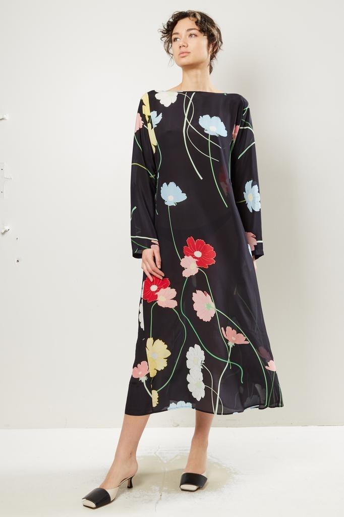 Bernadette - Katy wild flower print silk dress.