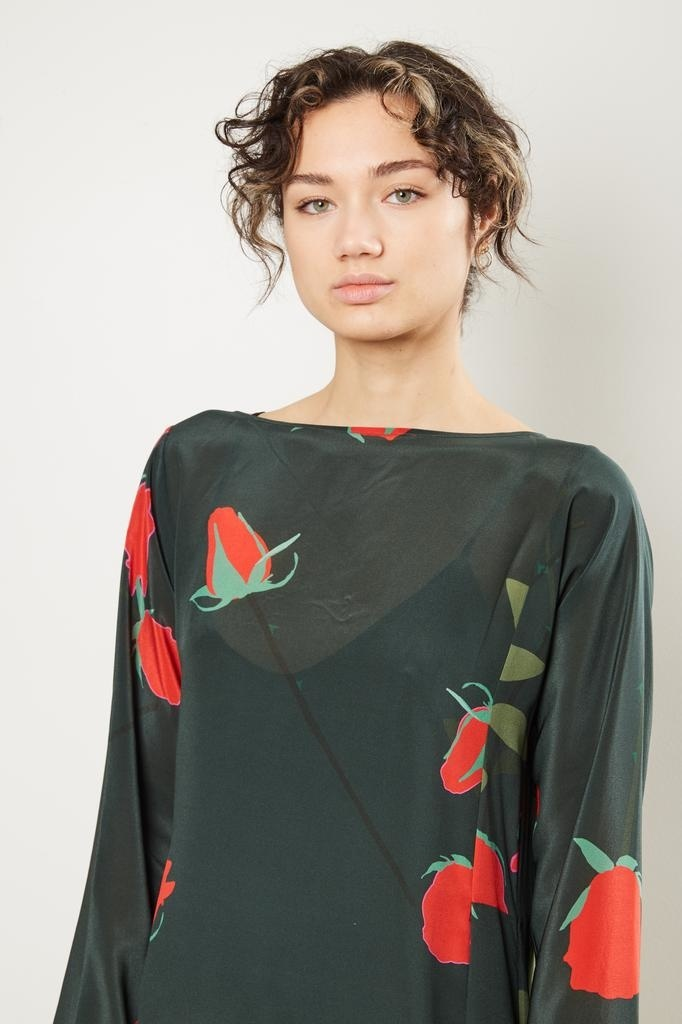 Bernadette - Katy rosebud print silk dress.