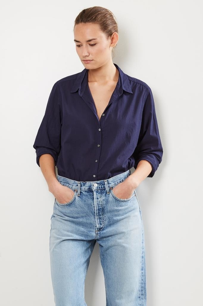 Xirena - Beau cotton poplin shirt navy