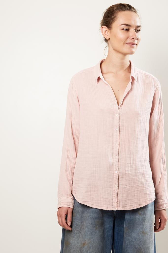 Xirena Scout chelsea gauze shirt rose dust large
